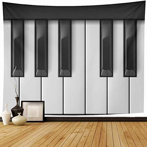 N\A Tapisserie Wandbehang Detail Tastatur Klaviertasten Cool Kreative Schwarze Musik Jazz Weiß Note Verrückte Wohnkultur Wandteppiche Dekoratives Schlafzimmer Wohnzimmer Wohnheim