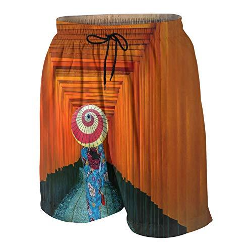 LUDOAN Trajes de baño para Hombres,Mujeres asiáticas con Kimonos japoneses Tradicionales en el Santuario Fushimi Inari en Kioto,Japón,Ropa de Playa Trajes de baño Shorts de baño Trajes de baño L