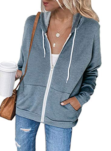 Acelitt Womens Ladies Fashion Winter Long Sleeve Zip Up Hooded Sweatshirts Hoodies Jackets Sky Blue XXL