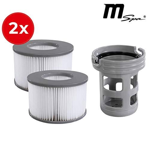 Miweba MSpa Whirlpool Ersatz Filter Filterkartusche Nachrüstset 2X Filter + Filterhalter für Modelle bis 2019 - Delight - Premium - Elite - Concept (Nachrüstset Modell bis 2019)