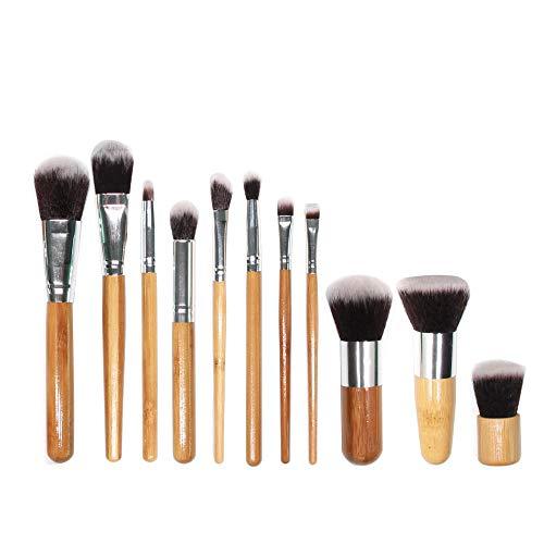Pinceaux Maquillage 11 Pinceau De Maquillage En Bambou Ensemble Complet D'Outils De Beauté Brosse En Poudre Réparation De Maquillage Professionnel Brosse
