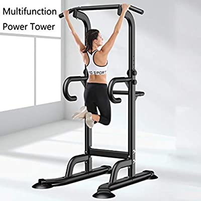 Strength Training Dip Stands - Multi-Function Pull Up & Dip Stand Power Tower, Home Gym Height Adjustable Fitness Strength Training Equipmen Durable Stable Home Exercise Workout Station