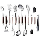 Amazon Brand Cooking Utensil Set, 12 Piece Stainless Steel Kitchen Utensil Set, Kitchen Gadgets Cookware Set, Best Gift - Kitchen Tool Set (Rose Gold Handle)