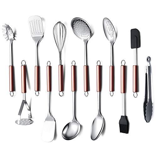 HOMQUEN Set di Utensili da Cucina in Acciaio Inossidabile, 12 - Utensili da Cucina, Gadget da Cucina Set di Pentole, Miglior Regalo - Set di Utensili da Cucina (Maniglia in Oro Rosa)