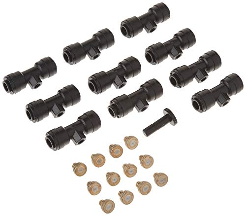 1/4 Slip-Lock, Outdoor Mist Tee Nozzle, Water Brass Misting Mister Nozzle, Misting Nozzles Kit, with Thread 10/24 UNC Tees 10pcs and 0.4mm Orifice Nozzle 12pcs, for Outdoor Cooling System
