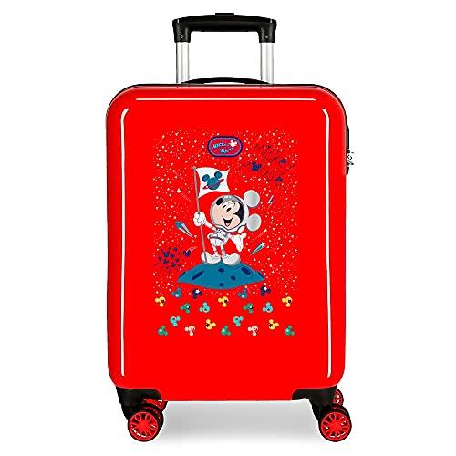 Disney Mickey Mickey on The Moon Maleta de Cabina Rojo 38x55x20 cms Rígida ABS Cierre de combinación Lateral 34 2 kgs 4 Ruedas Dobles Equipaje de Mano