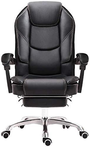 CSD Stuhl Home Office Chair 170 ° Reclinable Design Doppelständer Schwamm Kissen PU-Leder-Spiel Stuhl Erhebend Drehlager Gewicht 150kg Schwarz