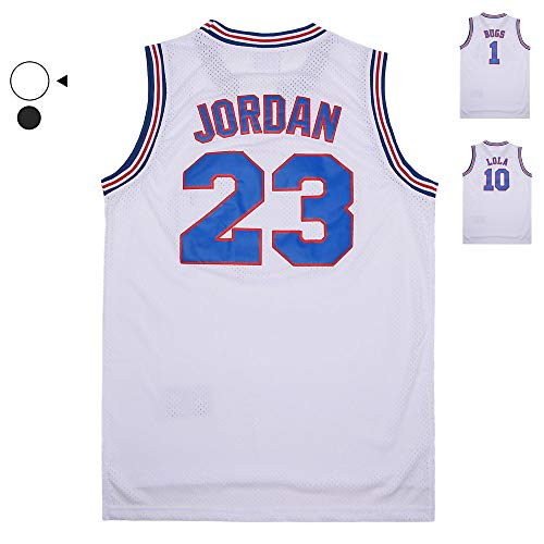 MEBRACS Mens 23# Bunny Space Movie Jersey Basketball Jersey Shirts for Party S-XXXL (White, Medium)