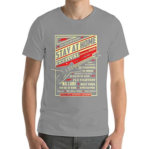 Camiseta de algodón para hombre, para festivales de Stay Home Gris plateado. S