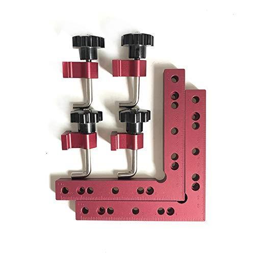 CarAngels アルミ製 完全スコヤ セット コーナークランプキット L形 90度 直角定規 木工 固定 締め付け ツール (160×160)