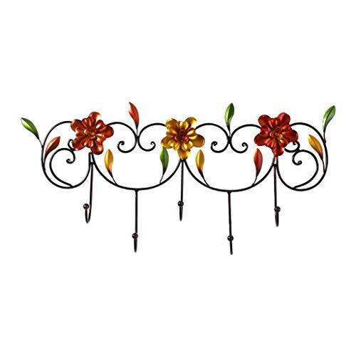 Schuhschrank,Wandgarderobe Wandgarderobe Schmiedeeisen Vintage Flower Garderobe Garderobenhaken für Hut GeldbaRse Schlüsseltasche Küche Badezimmer Schlafzimmer Eingangsbereich Mehrzweck-Schrankhaken