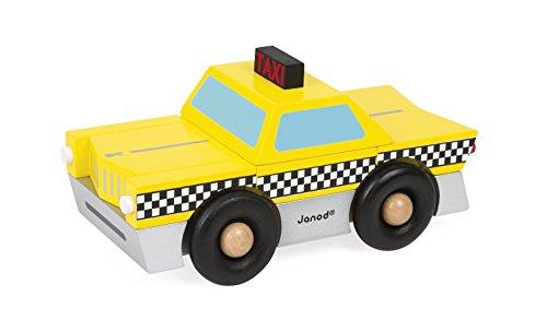 Janod- Kit Magnet Taxi Giocattolo in Legno, 9 Pezzi, Multicolore, J05217