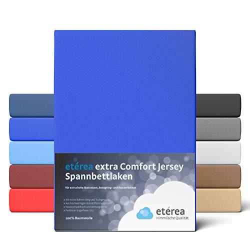 etérea Extra Jersey Spannbettlaken 90x200 bis 100x220 cm - Spannbetttuch für Boxspringbetten, Wasserbetten und Normale Matratzen, aus 100% Baumwolle und ca. 35 cm Steghöhe, Blau
