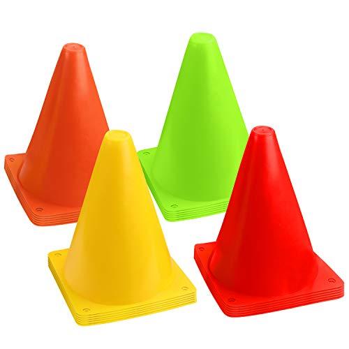 BELLE VOUS Cones de Sport Fluo 17 cm (Lot de 24) - Cone de Chantier pour Sports, Événements et Entrainements - Cone Plastique Activités Intérieures/Extérieures pour Football, Soccer, Jeux