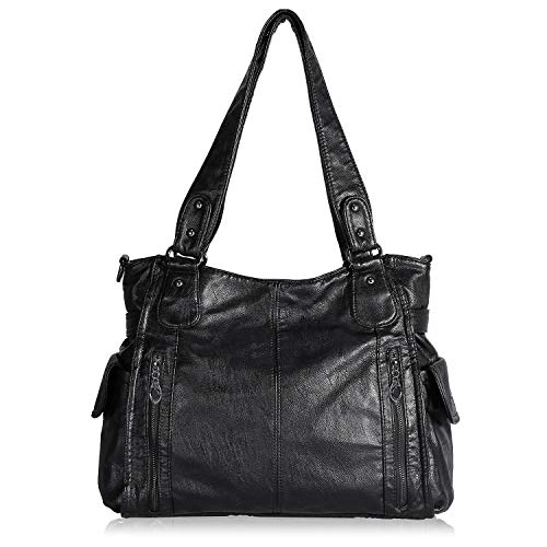 BAIGIO Soft Washed Leather Crossbody Bag Front Zippers Hobo Purse Top-Handle Shoulder Bag Handbags for Women, Black-1