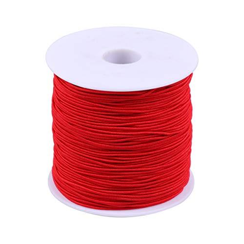 TOYANDONA 100M Elastisch Band Nähbänder Gummiband Rund Kordelspule Gummilitze DIY Nähen Bastelzubehör für Verschiedene Kleidung Hose Kleid Taille 1mm 1 Rolle Rot