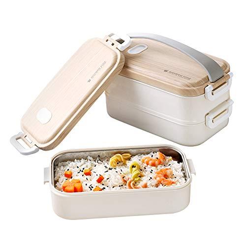 Queta Bento box. Fiambrera de acero inoxidable con vetas de madera. Bento Box de doble capa de 1,6 lcolor blanco para estudiantes + tenedor de porcelana azul y blanco, cuchara y palillos.