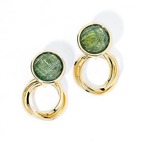 Pendientes de oro de moda para mujer, joyería de la oreja de la personalidad para la fiesta diaria cristal verde
