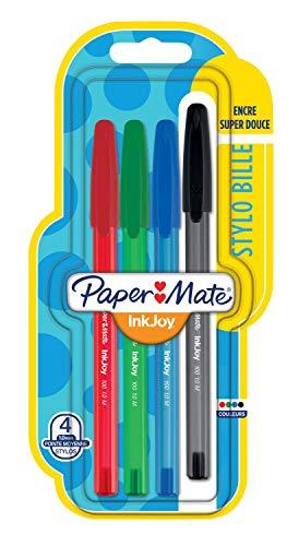Papermate Inkjoy 100ST Penne a Sfera con Cappuccio, Punta Media da 1.0 mm, 4 Pezzi, Multicolore (Colori Classici Assortiti)