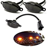iJDMTOY 75-123-Smoked-Amber 3pc Dark Smoked Lens Amber Full Front Grille Driving Light Kit for 2010-14 & 2017-up Ford Raptor (Powered by 36 Pieces of SMD LED Diodes)