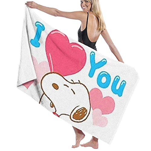 Snoopy Love You Fast Dry Highly Absorbent Multipurpose Use Bath Towels Beach Towels Pool Towels 31' X 51' for Women Men