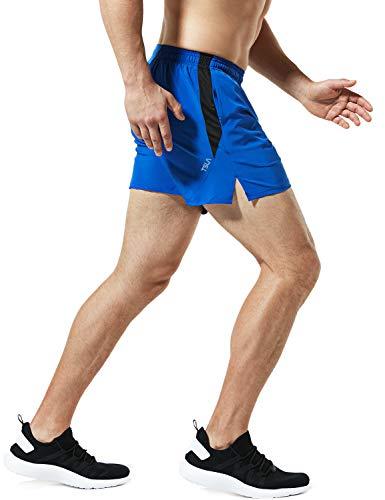 TSLA Men's Active Running Shorts, Training Exercise Workout Shorts, Quick Dry Gym Athletic Shorts with Pockets, 5 Inch Blue, Medium