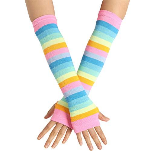 JHD Mujer niña Tejida sobre el Codo Calentadores de Brazo Largo Bandera de EE. UU. Rayas arcoíris Patchwork Guantes sin Dedos con Orificio para el Pulgar Disfraz de Fiesta