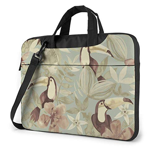 Laptop Shoulder Bag Carrying Laptop Case 14 Inch, Bird Flower Computer Sleeve Cover with Handle, Business Briefcase Protective Bag for Ultrabook, MacBook, Asus, Samsung, Sony, Notebook
