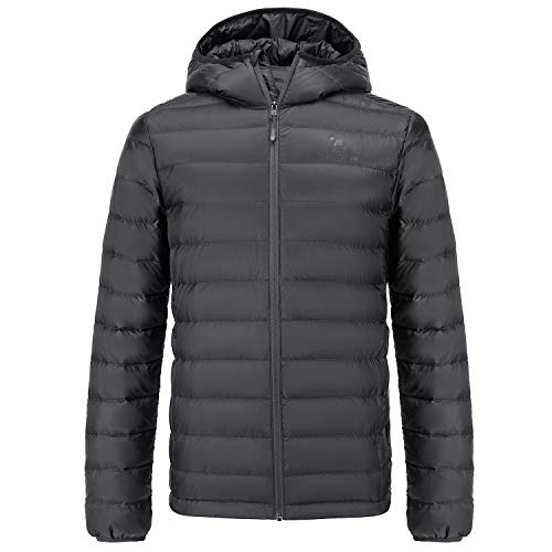 CAMEL CROWN Men's Packable Down Jacket Lightweight Insulated Hooded Winter Puffer Coat Water Resistant Dark Grey XXL