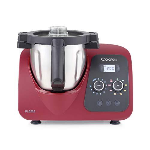 Flama Robot de Cocina Multifunción Cookii 2187FL, 1500W, Wi-Fi, 8 Temperaturas entre 37 y 120 °C, 10 Velocidades, Capacidad de hasta 5 kg, Recipiente de 3.8 L, Más de 200 Recetas, Red Chili
