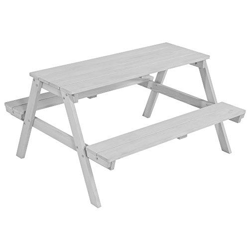 Roba Kids Outdoor zitgroep 'Picknick for 4', zitgroep met 2 banken en 1 tafel van hout voor binnen en buiten, weerbestendig gelakt, verkrijgbaar in grijs en wit zitmeubelen. Einteilig grijs