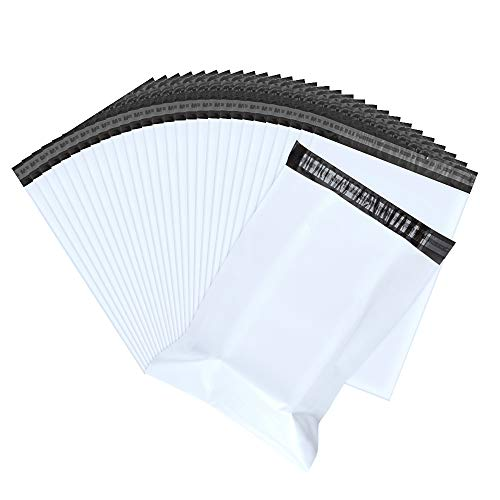 Shipping Bags, White Poly Mailers Haneye Waterproof and Tearproof Envelopes Mailing Bags 100-Pack, 12x15.5 Inches Poly Mailer with Self Sealing Strip