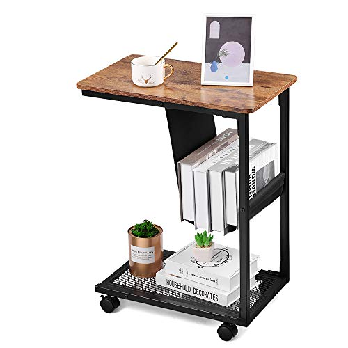 Neekor Industiral Side Table C Shaped End Table,Heavy Duty Mobile Table with Mesh and Side Pocket Coffee Table Living Room Couch Table Metal Frame Slide Under for Small Spaces,20.1'x11.8'x26.2'