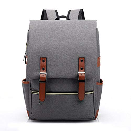 Vintage Laptop Backpack Women Canvas Bags Men Travel Leisure Backpacks Retro Casual Bags,Gray