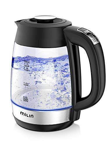 MILIN 電気ケトル 温度調節 ケトル ガラス 電気ポットケトル 沸かしケトル 急速沸かし 保温 メモリー機能 低騒音 コンパクト 1.7L ブラック