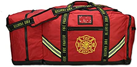 Lightning X Fireman Premium 3XL Firefighter Rescue Step-In Turnout Fire Gear Bag w/Shoulder Strap & Helmet Pocket (Red)