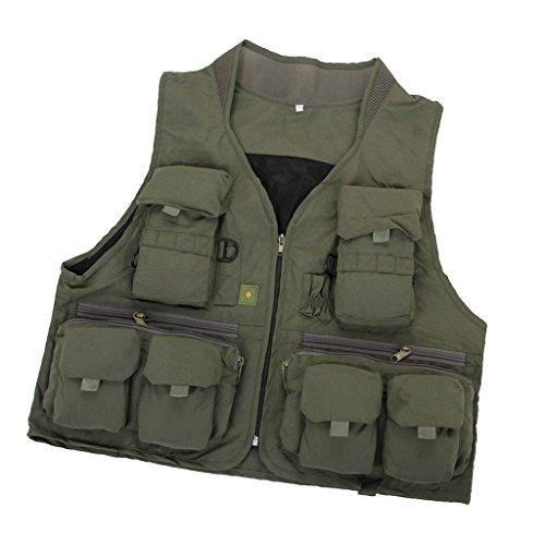 Sharplace Veste Jacket Gilet Multi Poches de Photographie Outdoor Chasse Pêche Vêtement Imperméable - Armée Verte, L