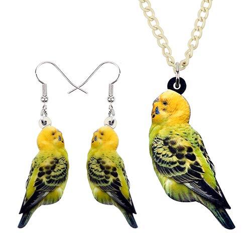 AdronQ® Acryl Schmuck Sets Clever Wellensittich Papagei Vogel Halskette Ohrringe Choker Mode Anhänger Für Frauen Mädchen