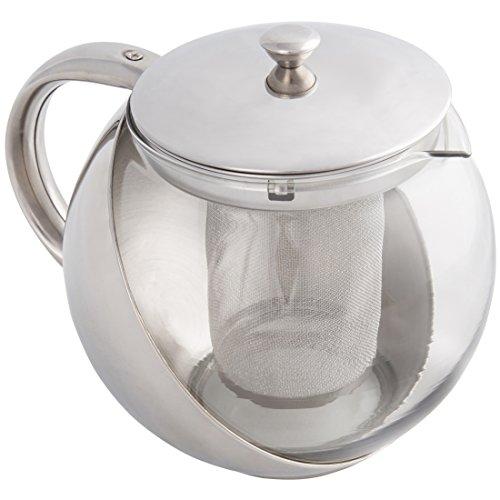 Levivo - Tetera de acero inoxidable con infusor, filtro redondo, tetera con infusor para tés de hojas sueltas, infusor moderno para hasta 8 tazas (1,1 L)