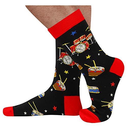 Product Image 3: Mens Novelty Drum Music Socks in Black, Crazy Music Themed Gift for Music Lover
