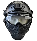 JFFCESTORE Tactical Mask and Fast Helmet,Protective Full Face Anti-Fog Clear...