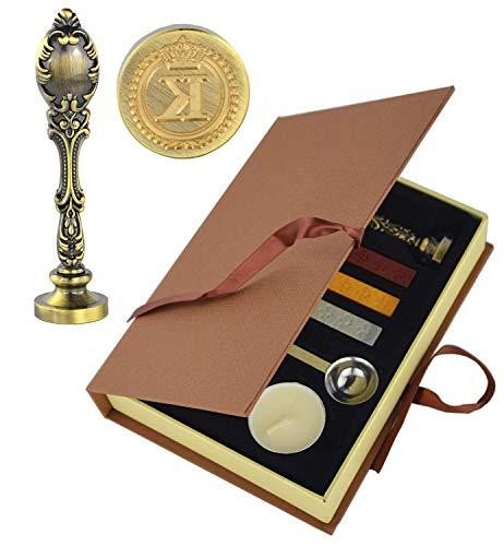 Vintage Initialen Letter Wax Seal Stamp Kit,Retro Klassieke Sealing Wax Stamp met Metalen Handvat Gift Box Set Brons Kleur K