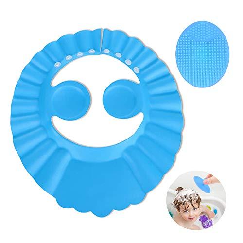 JIUJIU gorro de ducha de bebé para,cepillo de silicona champú para bebés,suave ajustable con protección para los oídos Gorro de ducha,evita que los ojos se llenen de agua y champú Protege para el