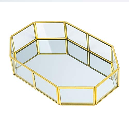 Kosmetikschmuck Spiegeltablett Metall Dekorative Glas Tablett Schmuck Organiser Parfüm Platte für Kommode, Badezimmer zum Aufbewahren und Organisieren