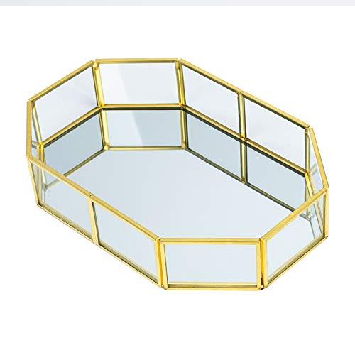 RZKJ-SHOP Bandeja de Espejo de Cristal Dorado, Bandeja de Perfume, Bandeja de tocador de Metal Poligonal, Bandeja Decorativa para Velas,cosméticos, Maquillaje, Dormitorio