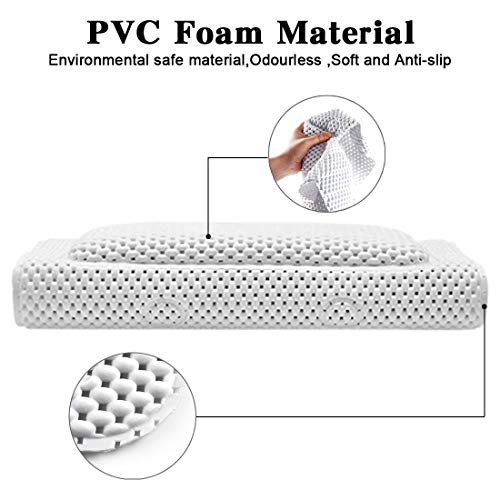 COPACHI Bathtub Mat with Pillow,Full Body Bath Cushion Pad with 3D Air Mesh Layers for Neck Back