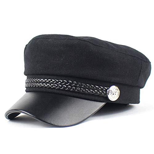KCCCC Sombrero de Boina para Mujer Damas Vintage Baker Cap Newsboy Cabbie Cap Visor Beanie Visor Beret Cloche Pico Hats para Gorra de Vendedor de Peridicos para Mujer (Color : Black, Tamao : M)