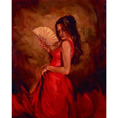 YLNYH Cuadro En Lienzo Retrato Femenino Calor Del Momento Bailarina Española Pinturas Al Óleo Pintadas A Mano