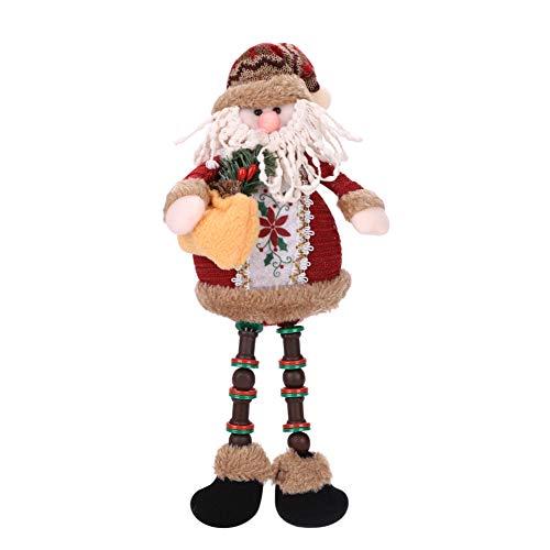 Natale seduto Babbo Natale ornamenti di Natale gamba lunga bambole peluche tavolo camino Decor Figurine peluche Home Decor (Babbo Natale, pupazzo di neve, alce)