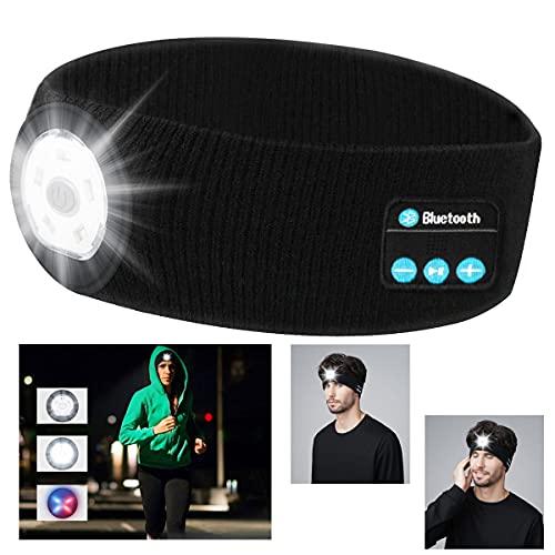 Schlafkopfhörer Bluetooth, USB Wiederaufladbare LED Stirnlampe, Kopfband Stirnband Bluetooth Kopfhörer mit Ultradünnen HD Lautsprecher, für Yoga, Seitenschläfer,Joggen, Gehen, Campen, Lesen, Nachtlauf
